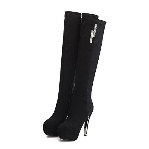 AllhqFashion Damen Rein Hoher Absatz Rund Zehe Blend-Materialien Reißverschluss Stiefel Schwarz