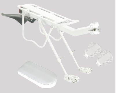 extrbici Fahrrad Hinterrad Rack mit Fender & reflektierende & Rücklicht Kissen Aluminium Legierung Fahrrad Rack Quick Release Stange 90kg Support Gewicht, weiß