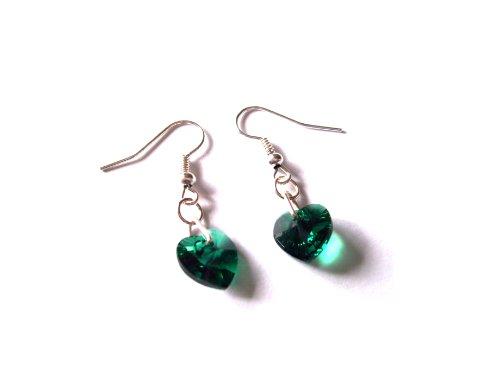 Smaragd-herz-swarovski-ohrringe (Geburtsstein Mai Smaragd Swarovski Elements Herz Drop Ohrringe mit Geschenk-Box)