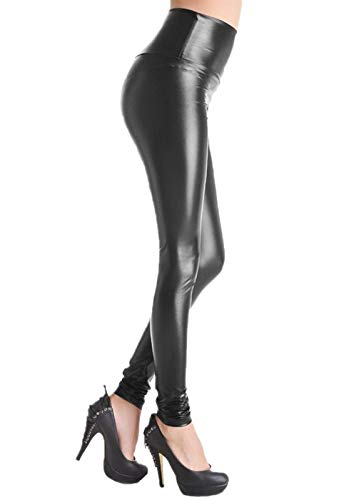 FITTOO Leggings Pelle Pantaloni Ecopelle Donna Leather Pants Sexy Collant, Nero, M
