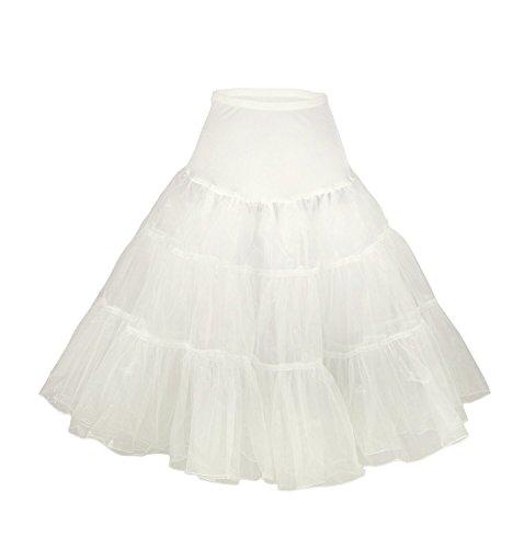 Fiona Frauen 50er Jahre Rock Kleid, 65cm Länge (XS-M, Elfenbein) (50er Outfit Thema Jahre)