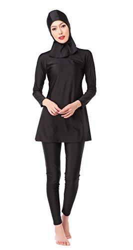 Frauen voller Länge lange muslimische islamische Burkini bescheidene Bademode (XL, schwarz) (Ärmel Athleta Lange)