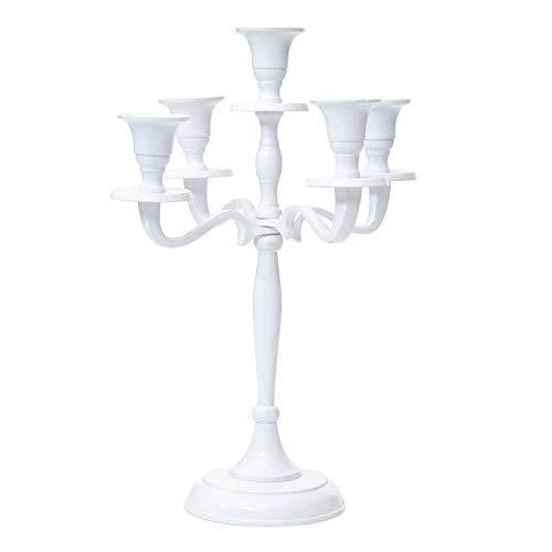 Mendler Kerzenleuchter HWC-D81, Kerzenständer Leuchter Kerzenhalter, 5-armig aus Aluminium 31cm massiv 0,6kg ~ Farbe: Weiß