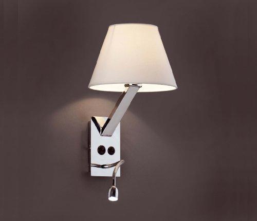 Faro Barcelona Moma 68506 - Aplique (bombilla incluida) LED, 60W, acero y pantalla textil, color blanco