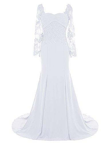 Dresstells, Robe de soirée Robe de cérémonie Robe de mère de mariée col en cœur traîne moyenne manches longues Blanc