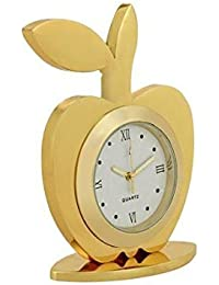 Msa Jewels Gold Plated Table Clock And Pen Holder With Red Velvet Box -Ideal Gift For Loved Ones