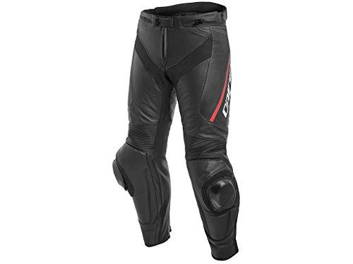 Herren Motorradhose Dainese Delta 3 Leder / Stiefelhose, BLACK/BLACK/FLUO-RED, 50 (Knieschleifer Dainese)