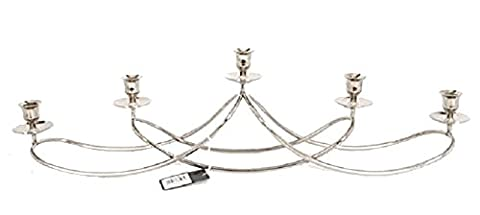 Silver Metal 5pc Swirl Large Taper Candle Holder / Candelabra / Table Centre