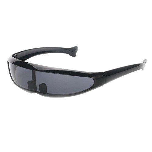 IPOTCH Männer Frauen Futuristische Partybrille Sonnenbrille Verspiegelte Alien - Schwarz