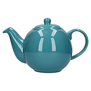 London Pottery Globe Teapot with Strainer, Ceramic, Aqua, 6 Cup (1.2 Litre)