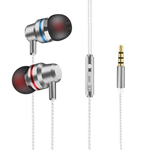 Dorical In Ear Kopfhörer, Headset Sport Ohrhörer Schweißresistent Stereo Eingebautes Mikrofon für iPhone, Huawei und Samsung Ohrhörer Headset Promo (One Size, Z08-Silber)
