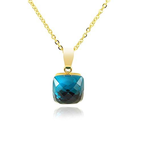 nobel-schmuck Kette mit Kristall von Swarovski® Blau Gold Damen Halskette