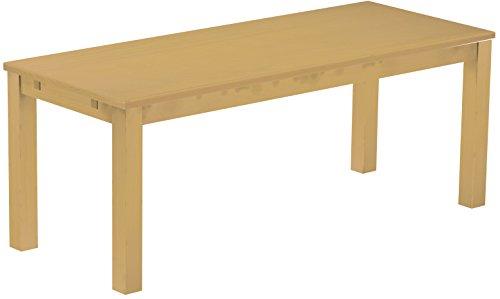 Brasilmöbel Esstisch Rio Classico 200x80 cm Sand Massivholz Pinie Holz Esszimmertisch Echtholz Größe und Farbe wählbar ausziehbar vorgerichtet für Ansteckplatten