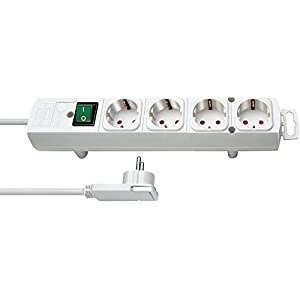 Brennenstuhl Comfort-Line Plus, Steckdosenleiste 4-fach (mit Flachstecker, Schalter, 2m Kabel und extra breite Abstände der Steckdosen) Farbe: weiß