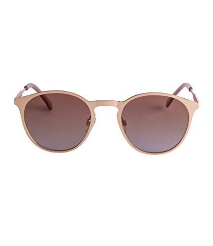 TOSH Runde Sonnenbrille mit matt goldfarbenem Rahmen und braunen Gläsern mit Verlauf (477-290)