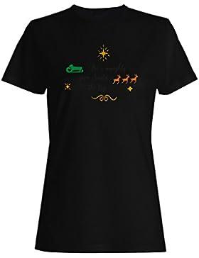 Ser Travieso Salvar Santa El Viaje camiseta de las mujeres j381f