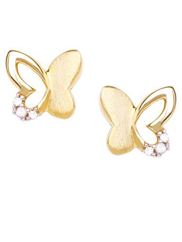 MyGold Sweet Butterfly, farfalla, orecchini oro giallo 333 (8 ct), con zirconi, 6 x 7 mm, opaco / lucido, regalo per ragazze, orecchini da bambini, V0010827