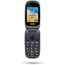 SPC Harmony - Teléfono móvil (Dual SIM, Números y letras grandes, 3 memorias directas, 5 números SOS, cámara de fotos), Negro