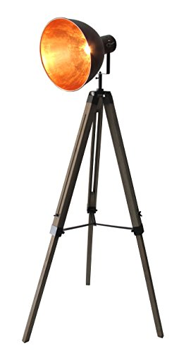STATIV STEHLEUCHTE STUDIOLAMPE STEHLAMPE SPOT Schwarz/Gold Lampe Höhe:95-143cm 605455 Retrolampe...