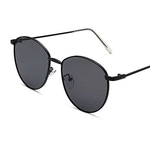 Unisex-Sonnenbrille runder Metallrahmen - UV400-Schutz flach getönte Linse/reflektierende verspiegelte Linse/Transparente Linse für Frauen Männer John Lennon inspiriert,BlackFrame/BlackGrayLens