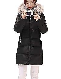 Guiran Mujer Abrigos Plumas Largo Chaquetas con Capucha Invierno Parkas Espesar Cálido Cazadoras Slim Fit Negro