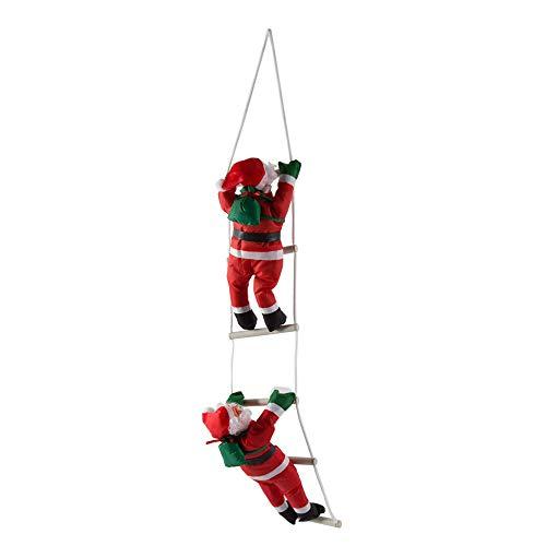 Leenbonnie santa claus climbing stairs decorazione dell'albero di natale ornamento di capodanno babbo natale dare impiccagioni regalo di grandi dimensioni con scala