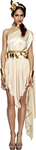 Fever, Damen Göttin Kostüm, Kleid, Gürtel, Armmanschetten, Halsband und Haarreif, Größe: M, 20561 (Indianer Kostüm Halloween)