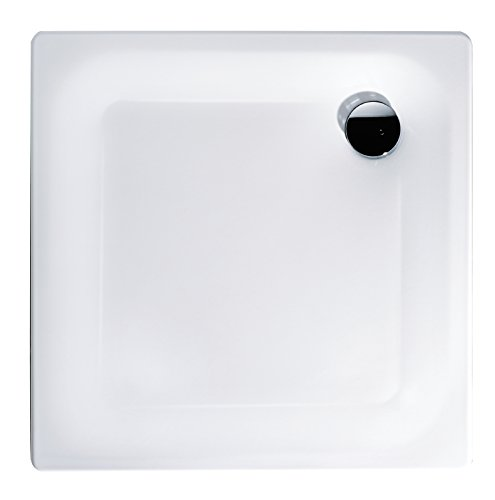 \'aquaSu® Stahl-Brausewanne Sunda | Extra flach | 80 x 80 x 2,5 cm Weiß