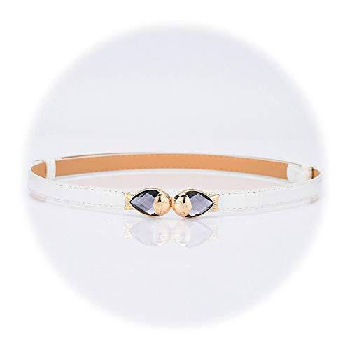 Kostüm Ratchet - Amody Damengürtel, PU Ledergürtel Weißer Gürtel mit Legierung Crystal Fish Schnalle für Ratchet Dress Belt
