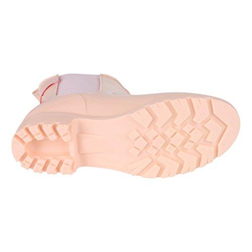 napoli-fashion Damen Lack Stiefeletten Gummistiefel Chelsea Boots Schuhe Gr. 36-41 Jennika Rosa Schnallen