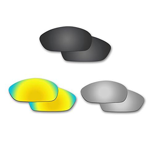 Fiskr Anti-Saltwater Polarisierte Ersatz Gläser für Oakley Whisker Sonnenbrille 3Paar Pack, FBA_WRA29BK*SI*GO*3T, Stealth Black & Metallic Silver & 24K Gold