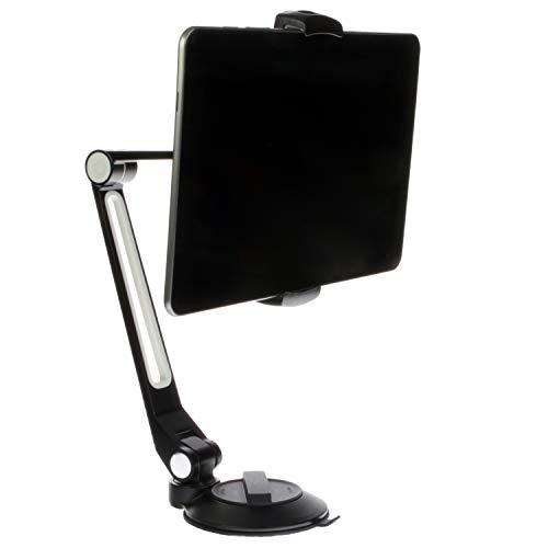 Sinland Unverselle Halterung 360° drehbar | Für Tablet, Handy, Smartphone & Kamera | Mit Saugnapf für alle glatten Oberflächen (Groß, Schwarz)