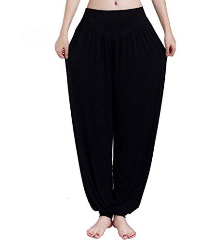 Alisa Frauen Yoga Harem Geraffte Slouchy voller Länge weichen Casual Hippie Bloomer Hose Hose Baggy Hosen (Schwarz, M) (Plus Size Damen Kompression Hose)
