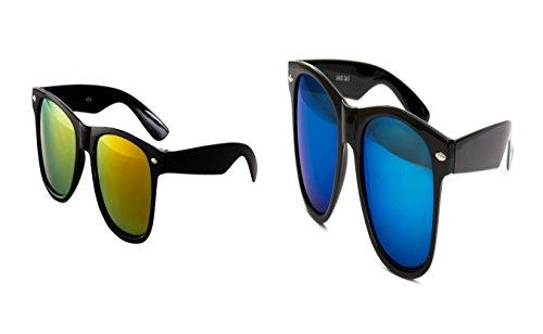 2 er Set Nerd Sonnenbrille Nerd Brille Feuer verspiegelt Schwarz + Blau Glas