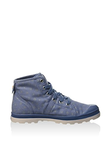 Palladium - Boots, booty ou bottillons toile estampillés pour femme, avec lacets et bout en caoutchouc Bleu