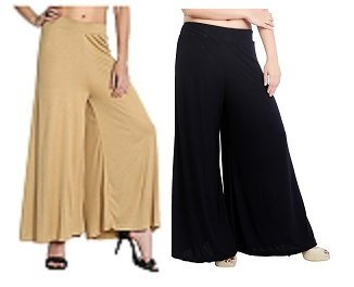combo pack of two(beige/skin,black) colour free size devider palazzo/palazo pants for women