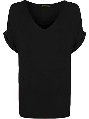 Re Tech UK - Damen T-Shirt - locker - übergroß - V-Ausschnitt - umgekrempelte Ärmel - Schwarz - 40-42
