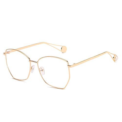AmDxD Damen Polarisiert Sonnenbrille | Linse aus Harz | Irregulär Vieleck Vollrand Retro Brille UV400 Schutz | Für Outdoor-Aktivitäten, Farradfahren - Gold Weiß
