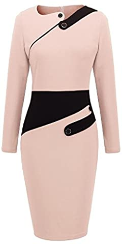 HOMEYEE Robe Moulante Manches Longues Femme B231 (small, 36, Rose clair)