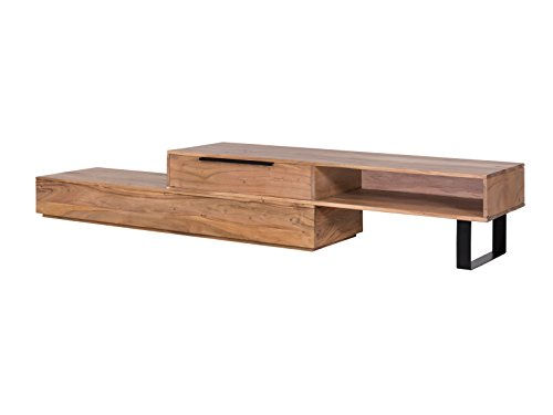 Holz-tv-ständer Möbel (Woodkings® TV Bank Auckland variabel, Lowboard aus Akazien Holz Natur Rustic,TV Regal Möbel aus Massivholz und flexibel stellbar, Wohnwand variabel stellbar modern (Metall, 1 Schubkasten))