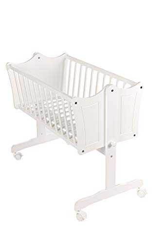 Niuxen 426-794 Babywiege 90/40 Massiv Holz Wiege mit Parkettrollen und Gravur Design Weiß Perlweiß -