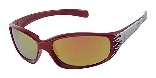 Kinder/Kinder, 5-9Jahre alt, und rot Rahmen mit Sonnenbrille, Rot Verspiegelte Linse, gratis gelb um neckcord