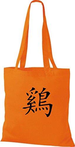 ShirtInStyle Stoffbeutel Chinesische Schriftzeichen Hahn Baumwolltasche Beutel, diverse Farbe orange