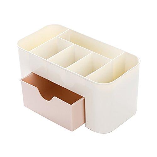 OUNONA Boîte de Rangement Comestics maquillage organisateur de bureau cosmétique porte maquillage avec tiroir (Rose + Blanc)