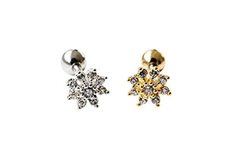 16g Body jewelry cartilage ear studs cute cool earring tragus helix barbell for women teens girls men mini snowflake earring piercing, Mini Flower Cz Tragus Earring,bridesmaid Gift 11P-01153