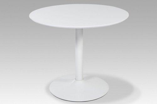 lifestyle4living Runder Esstisch in Weiß Hochglanz | Küchen-Tisch ist 90 cm breit | kleiner Esszimmertisch ist für schmale Küche geeignet