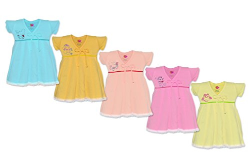 Orange and Orchid Baby Girls Cotton Frock Pack of 5 (ONOKDSFRK05_6-12_Multi-Colour_6 - 12 Months)