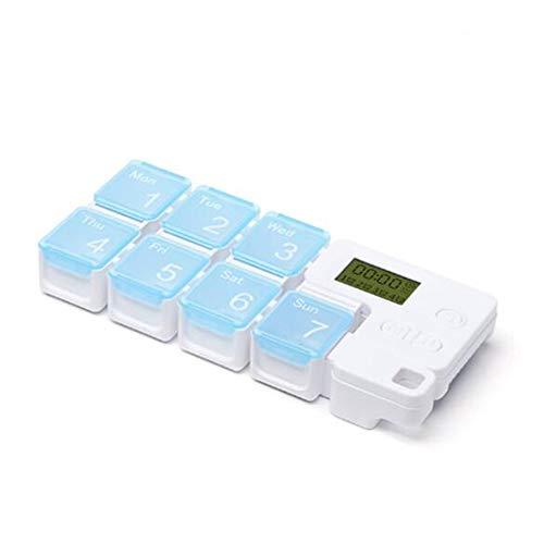 FHUILI 7-Tage-Pille-Kasten Tragbare Sealed Feuchtigkeitssichere elektronische Zeit Erinnerung Smart-Pill Box - Vitamin Medizin Tablettenspender Organizer - Wochenaufbewahrungskoffer,B -