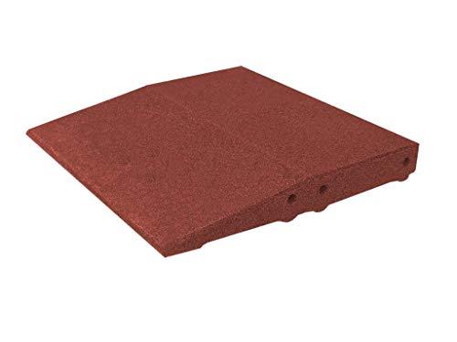 Plaque bord pour cas protection, fond carrelage 50 x 50 x 6,5 cm en caoutchouc, rouge