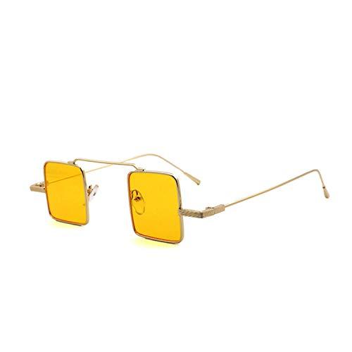 TJLY Unregelmäßige kleine Box Sonnenbrille quadratische Brille Unisex klare Brille Winddicht Sportreisen,Yellow